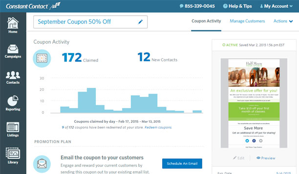 Track new email addresses, coupons claimed, redemptions, and shares on social media to see the success of your coupon marketing