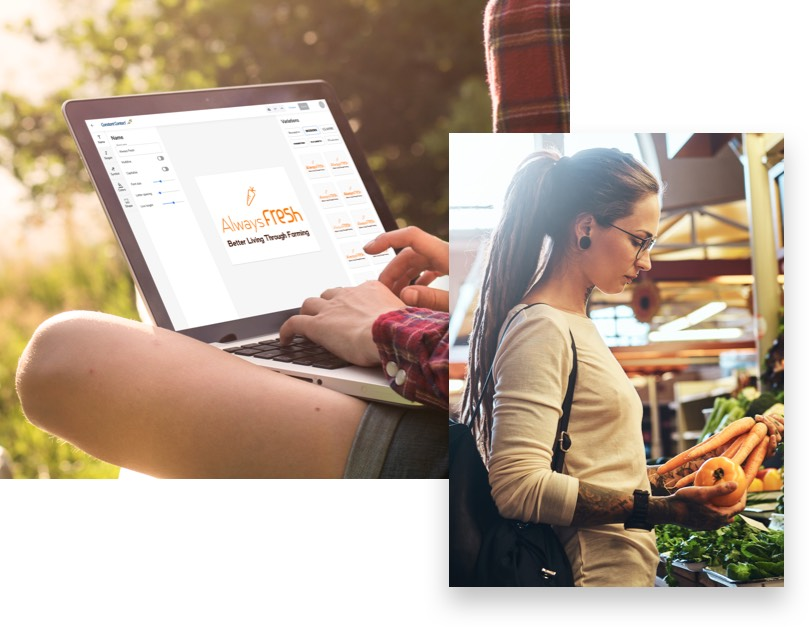 Image of Constant Contact's logo editor and a woman picking out vegetables