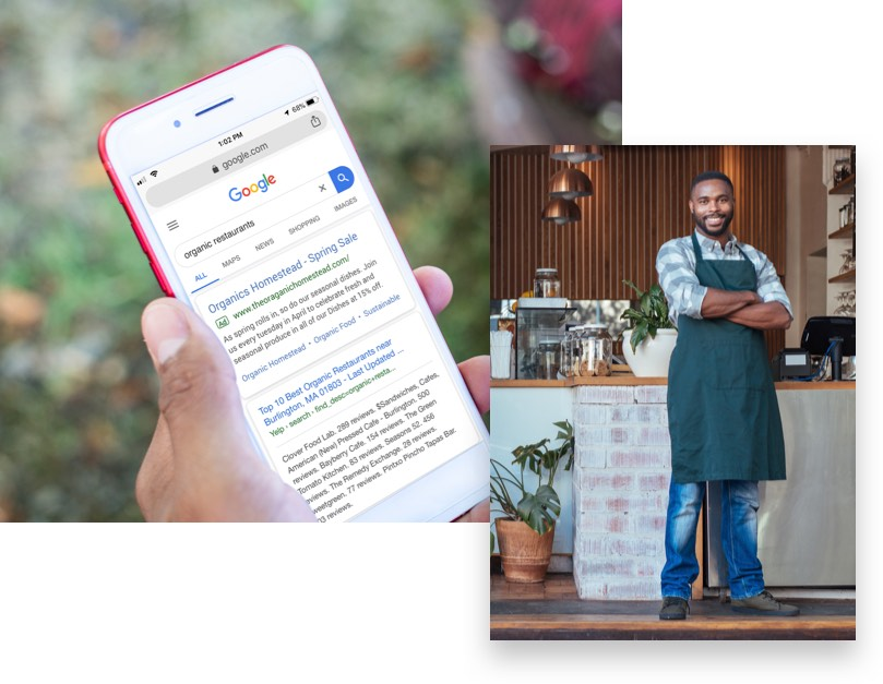 Image of a business owner and a hand holding a phone