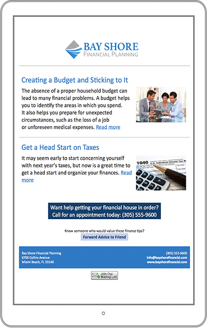 Accounting & CPA Email Marketing Newsletter Example