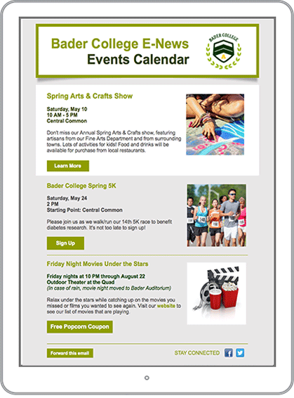 Higher Education Marketing Email Newsletter Example