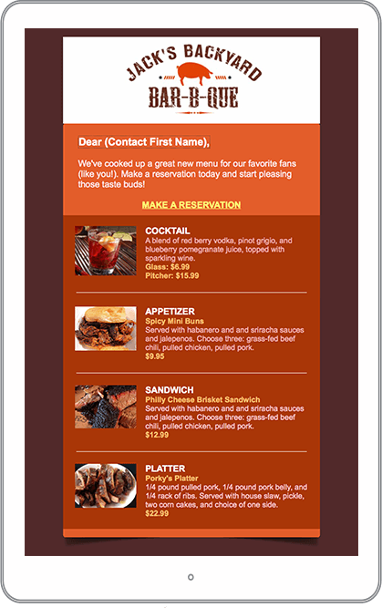 Restaurant Email Marketing Newsletter Example